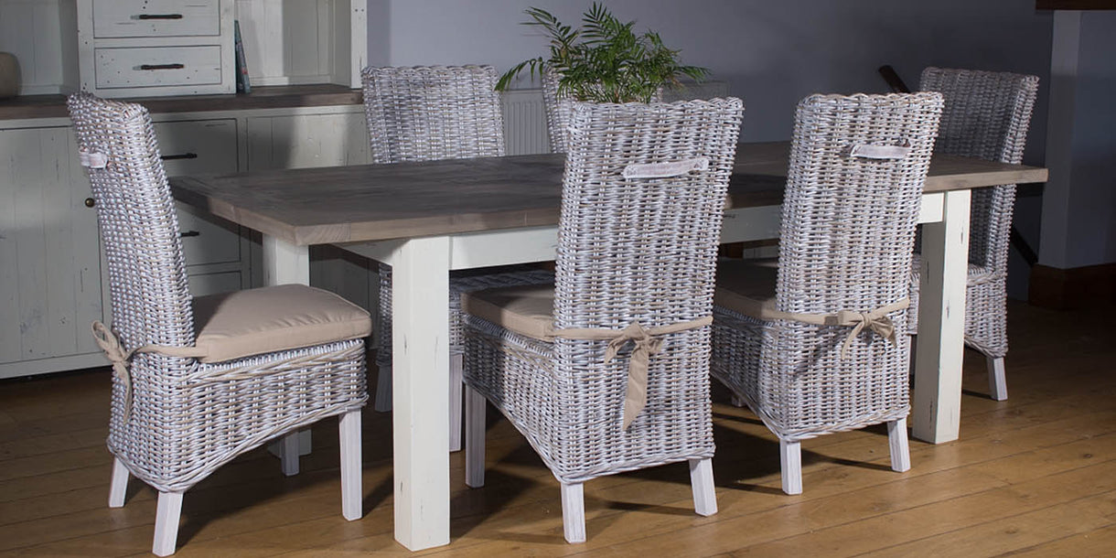 Dorset Reclaimed Wood Extending Table and Rattan Dining Chairs