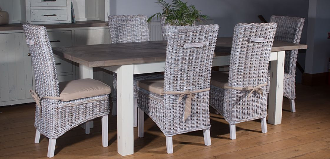 Dorset Reclaimed Wood Extending Rattan Dining Set Lifestyle Photo