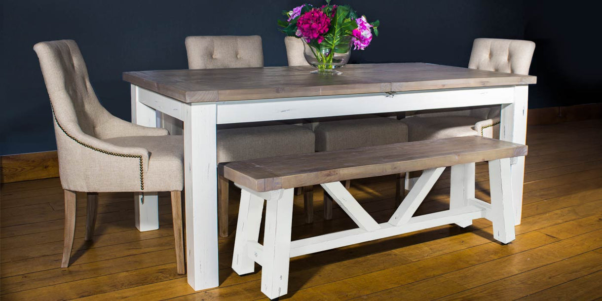 Dorset Reclaimed Wood Dining Table and Bench