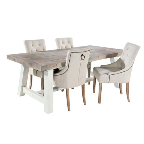 Dorset Purbeck Reclaimed Wood Trestle Table and Cream Chairs