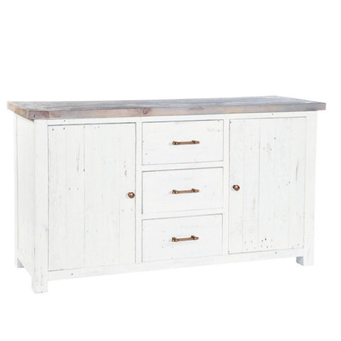 Large Dorset Rustic White Reclaimed Wood Sideboard for Kitchen