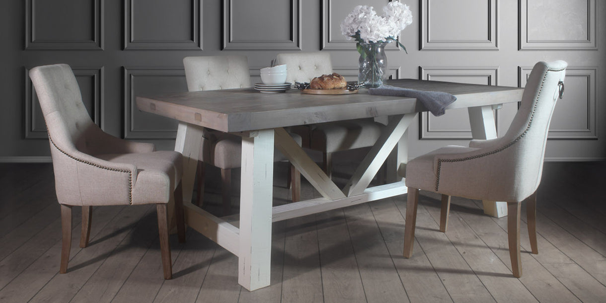 Dorset Reclaimed Wood Trestle Table and Cream Dining Chairs