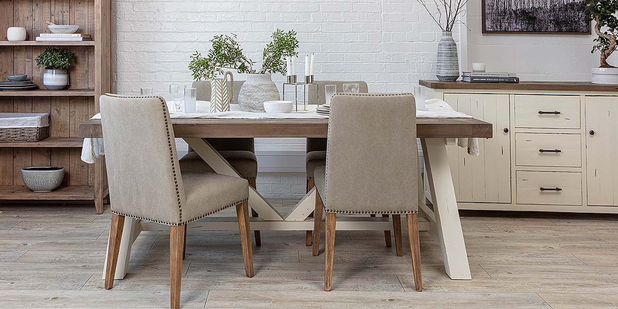 Dorset Reclaimed Wood Trestle Table and Fabric Chairs