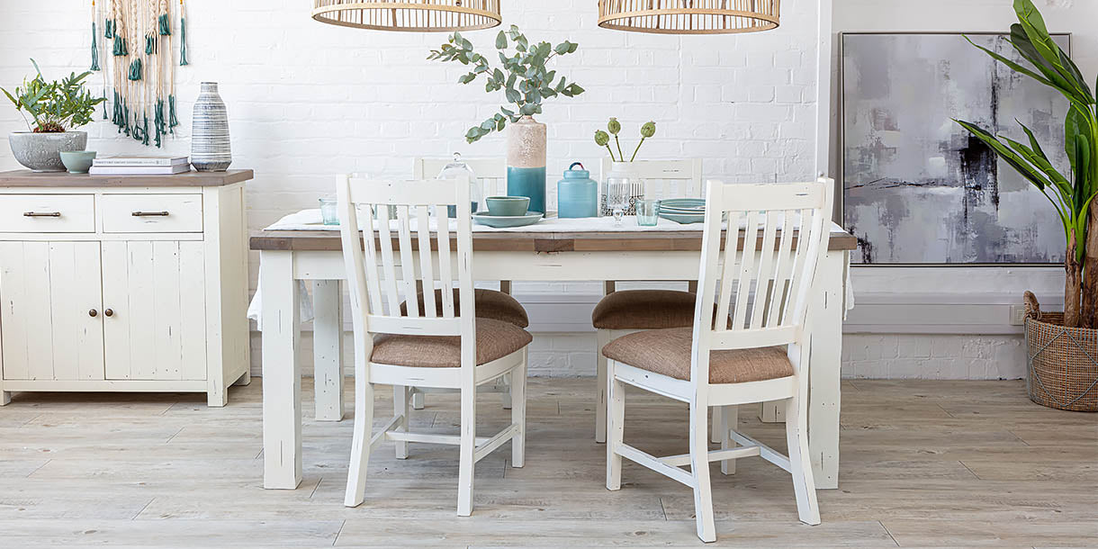 4 Dorset Reclaimed Wood Dining Chairs around dining table