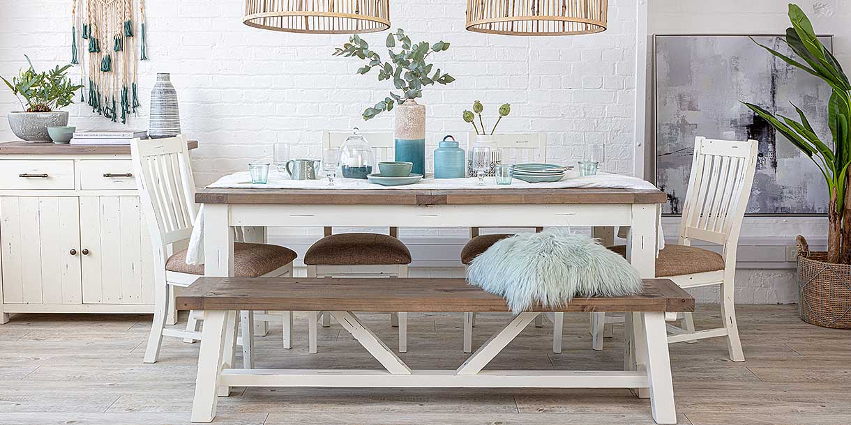 Dorset Reclaimed Wood Dining Bench with white painted base