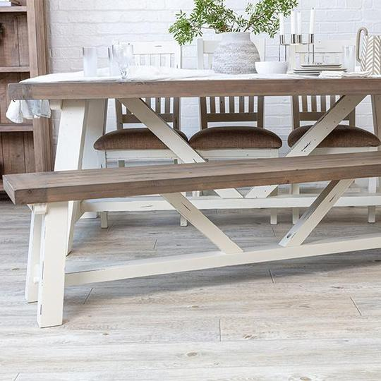 White reclaimed wood dining bench and table
