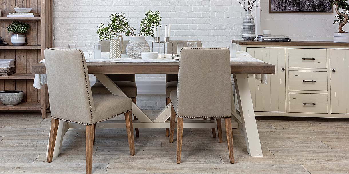 Dorset Reclaimed Wood Extendable Trestle Table and chairs