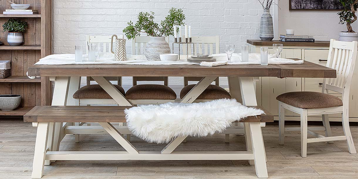Medium Dorset Reclaimed Wood Dining Set with trestle table