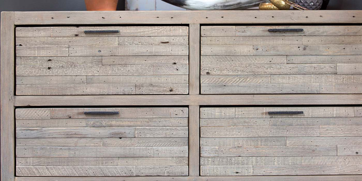 Dulwich Medium Reclaimed Wood Chest of Drawers Closeup