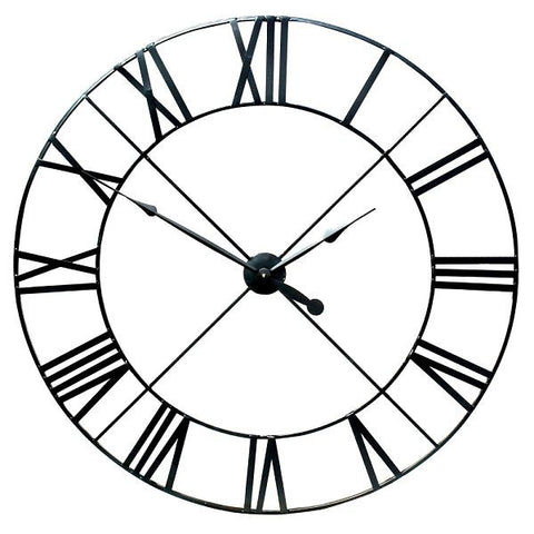 Extra Large Black Metal Wall Clock 110cm