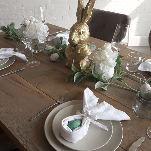 Oak Dining Table with Easter Napkins Setting