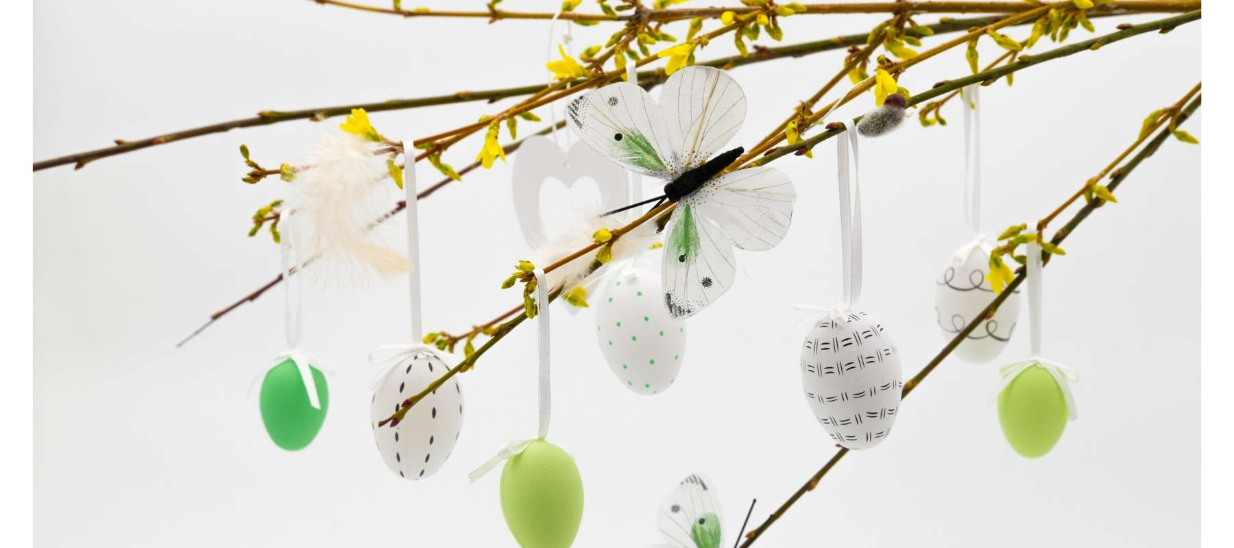 Painted eggs hanging from twigs