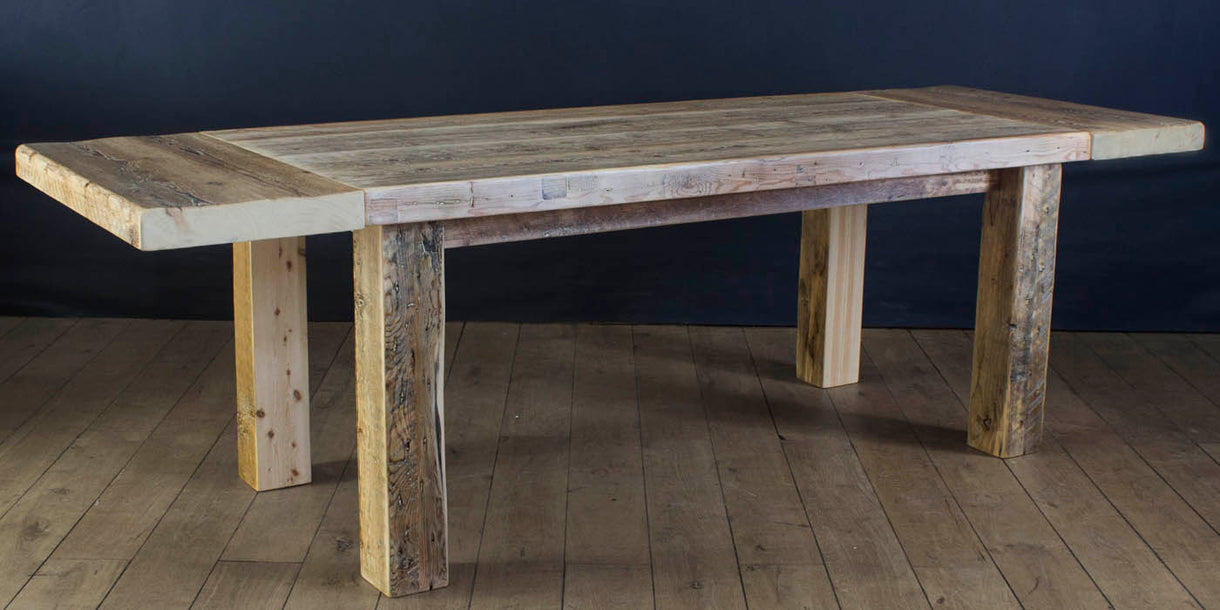 English Beam Extendable Reclaimed Wood Dining Table extended