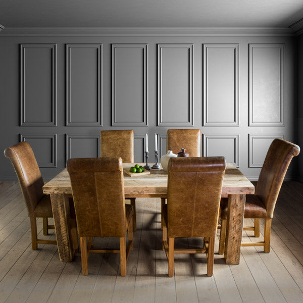 English Beam Extendable Reclaimed Wood Dining Table and Dining Chairs