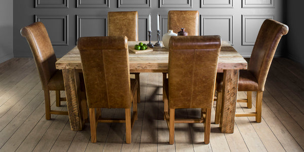 English Beam Extendable Reclaimed Wood Dining Table and Leather Dining Chairs