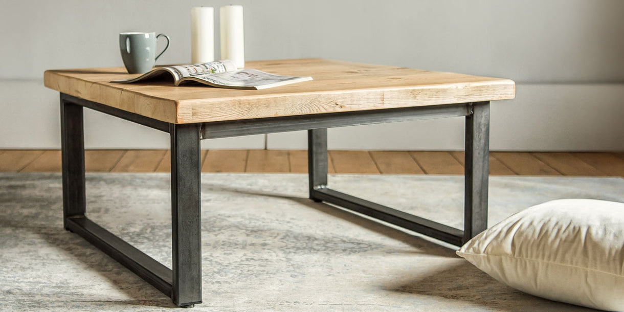 English Beam Industrial Reclaimed Wood Coffee Table