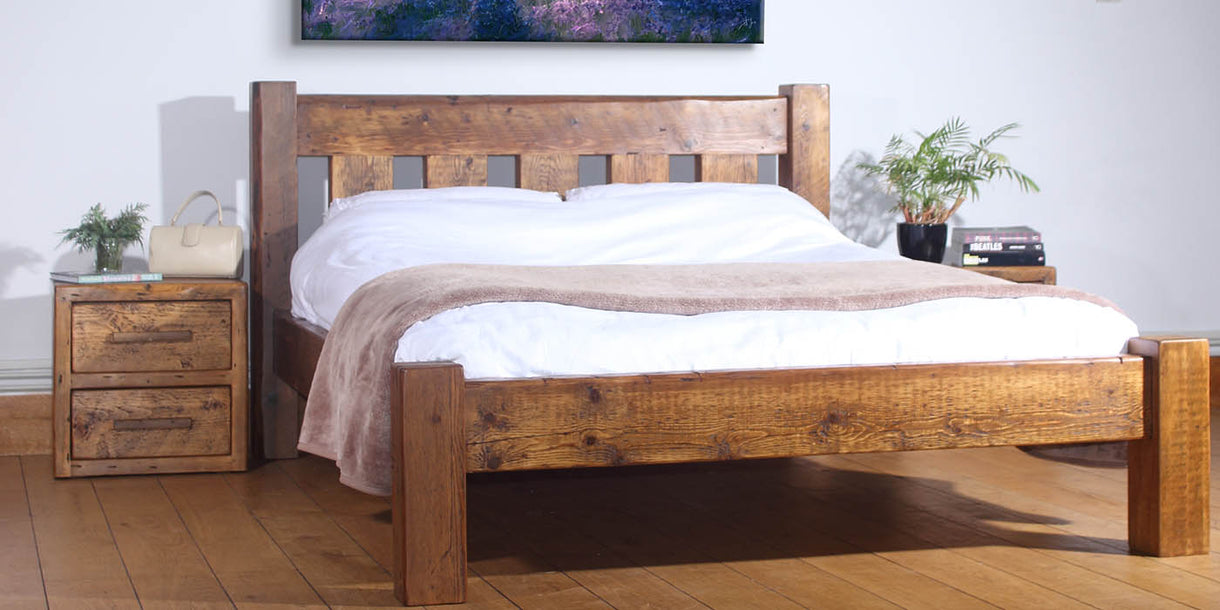Beam Reclaimed Wood Bedsides and Bed