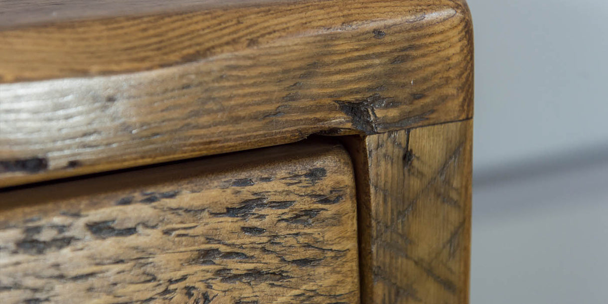 Beam 2 Drawer Reclaimed Wood Bedside Table Close up