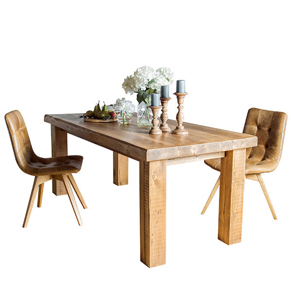 Beam Reclaimed Wood Dining Table and Leather Dining Chairs