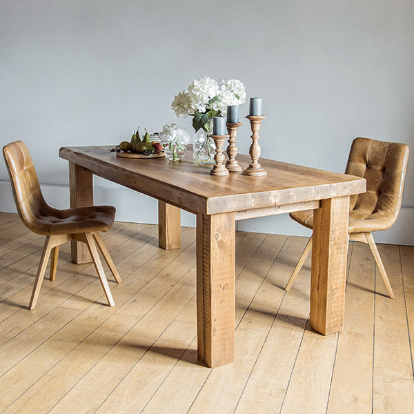 Beam Reclaimed Wood Dining Table and Leather Chairs