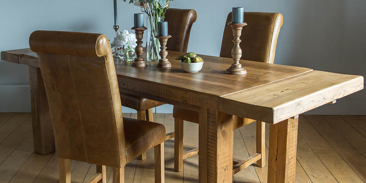 Roll Back Leather Dining Chairs and Table