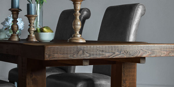 English Beam Extendable Reclaimed Wood Dining Table Dark