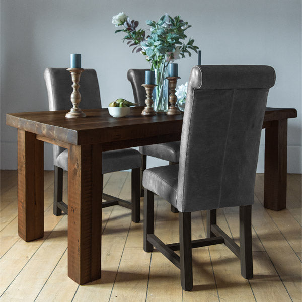 English Beam Farmhouse Extendable Reclaimed Wood Dining Table and Chairs