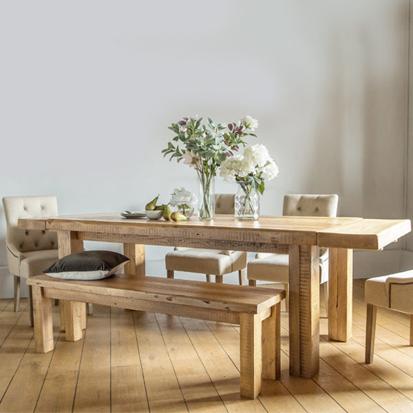 Beam Reclaimed Wood Dining Table and Bench