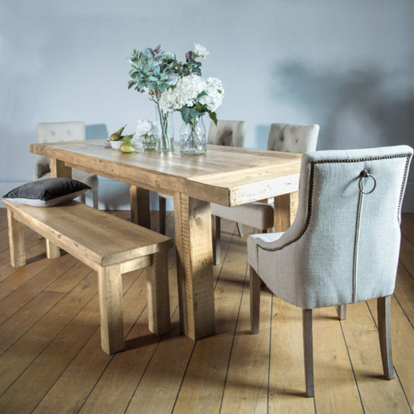 English Beam Extendable Reclaimed Wood Dining Table and Chairs