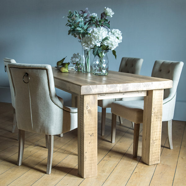 English Beam Extendable Reclaimed Wood Dining Table and Upholstered Chairs