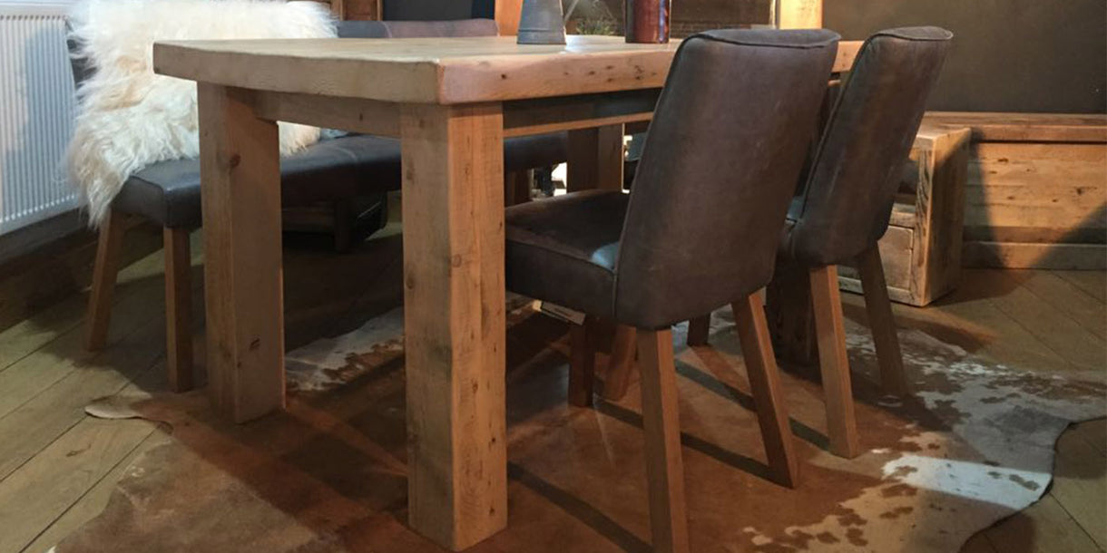 English Beam Reclaimed Wood Dining Table and Leather Seating