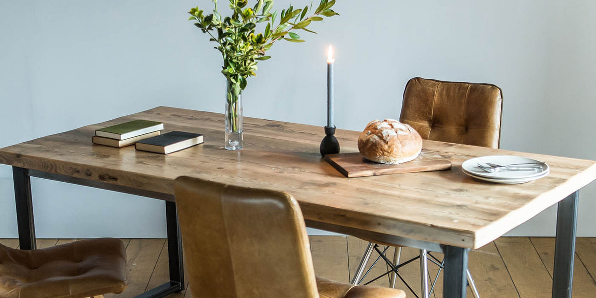 English Beam Industrial Steel Reclaimed Wood Dining Table and Allegro Chairs