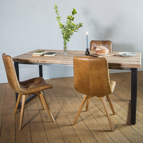 English Beam Industrial Reclaimed Wood Dining Table and Allegro Chairs