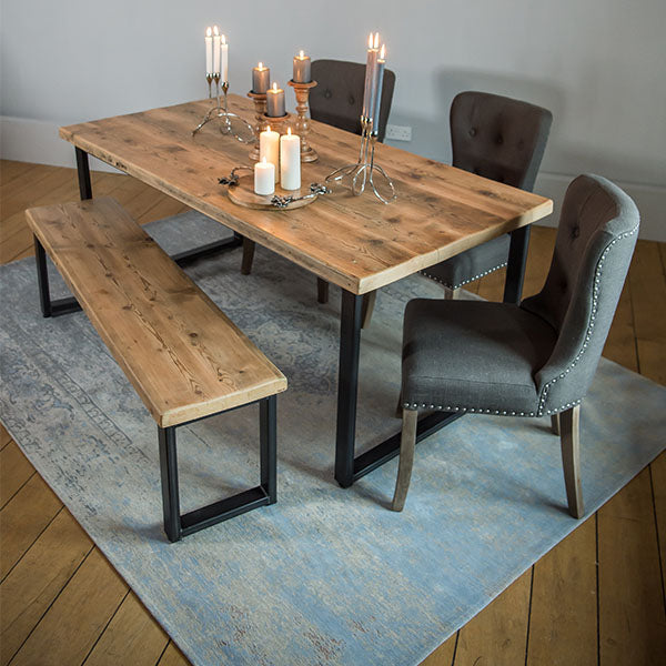 English Beam Industrial Steel Reclaimed Wood Dining Table and Brook Chairs