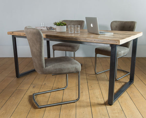 English Beam Industrial Steel Reclaimed Wood Dining Table and Chairs