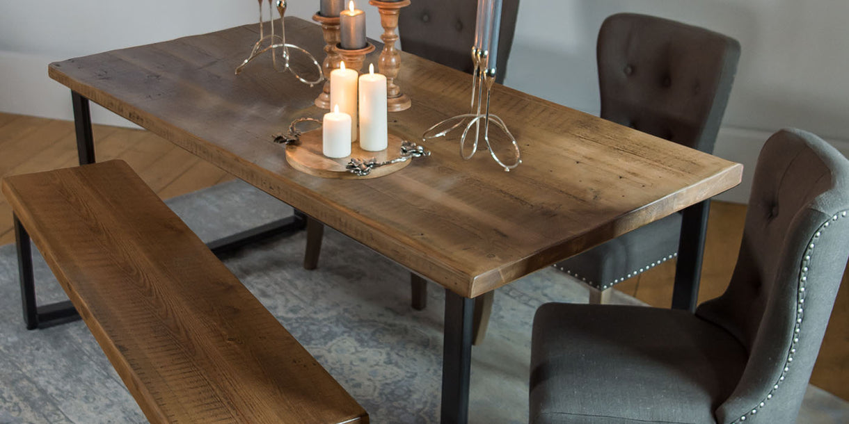 English Beam Industrial Reclaimed Wood Dining Table - Medium