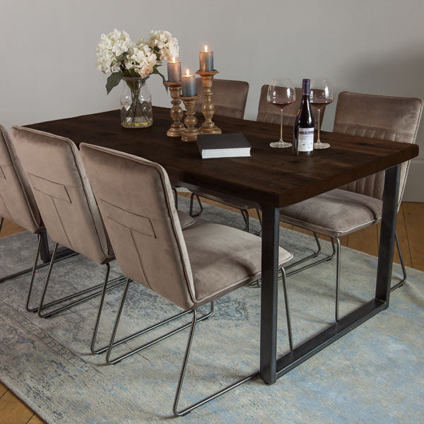 English Beam Industrial Steel Reclaimed Wood Dining Table and Velvet Chairs