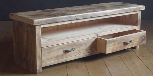 reclaimed wood tv unit with two drawers