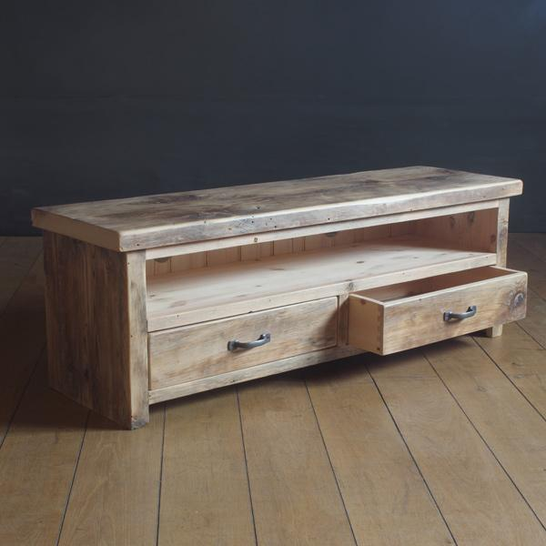 English Beam Reclaimed Wood TV Unit with Drawers