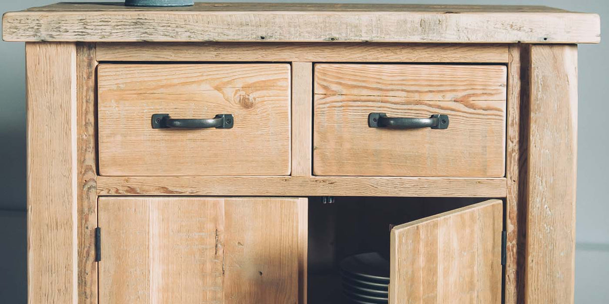 English Beam 2 Door Reclaimed Wood Sideboard Closeup