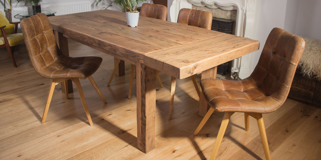 English Beam Reclaimed Wood Dining Table and Brown Leather Chairs