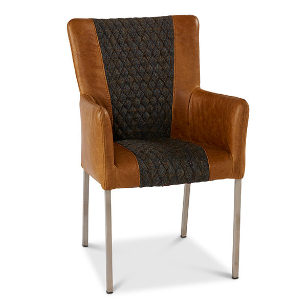 Eriksson Grand Leather and Harris Tweed Dining Chair