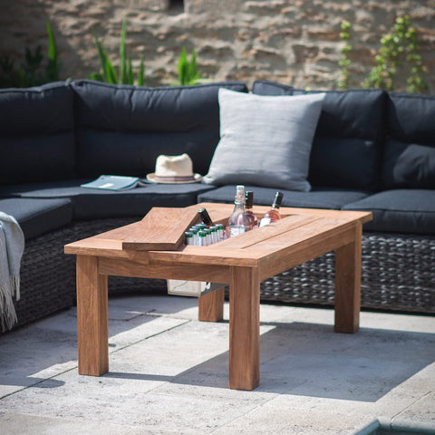 St Mawes coffee table in reclaimed teak with storage space for drinks