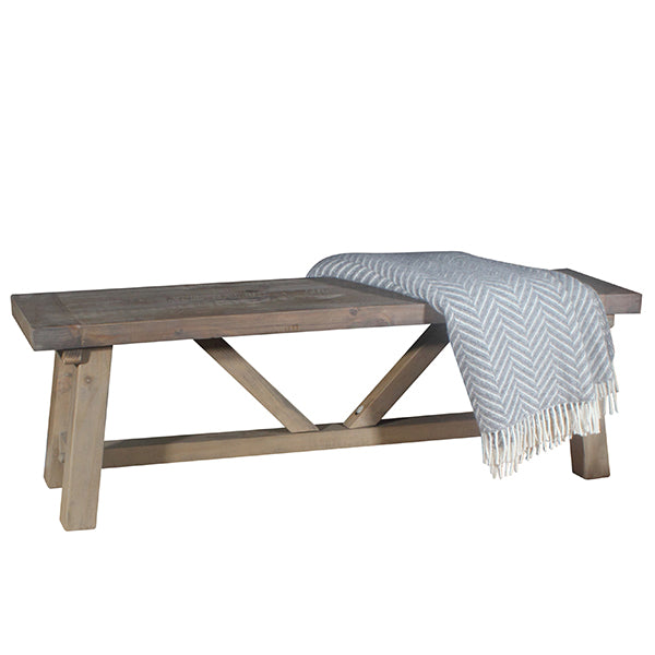 Reclaimed Wood Dining Bench with Patterned Throw