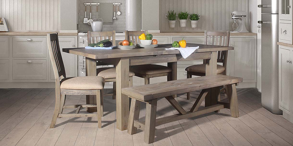 Farringdon Reclaimed Wood Dining Table and Chairs in Kitchen