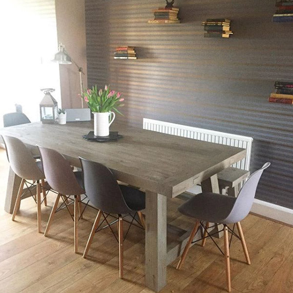 Farringdon Reclaimed Wood Trestle Dining Table