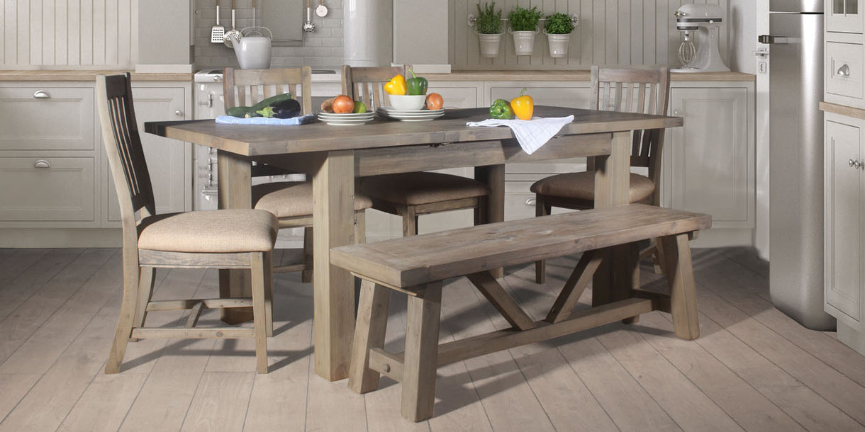 Farringdon Reclaimed Wood Dining Set Chairs & Bench