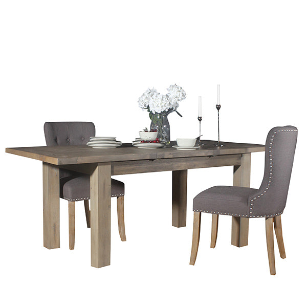Farringdon Reclaimed Wood Dining Table and Grey Fabric Chairs