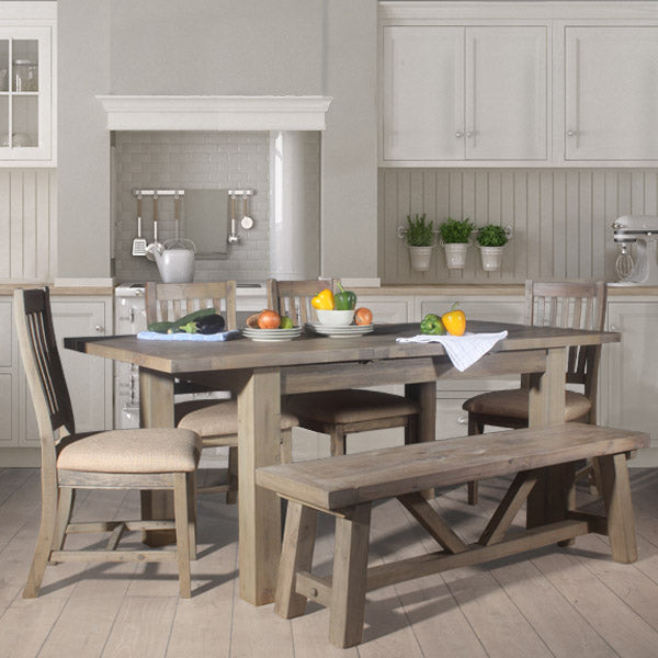 Farringdon Reclaimed Wood Extendable Dining Table with Wooden Chairs
