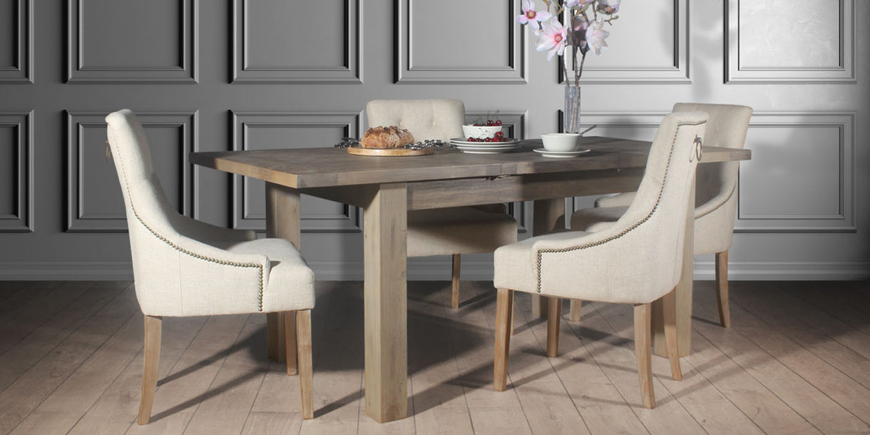 Farringdon Reclaimed Wood Dining Table and Cream Fabric Chairs